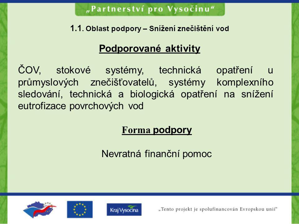 1.1. Oblast podpory – Snížení znečištění vod Podporované aktivity ČOV, stokové systémy, technická opatření u průmyslových znečišťovatelů, systémy komp