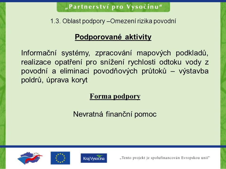 1.3. Oblast podpory –Omezení rizika povodní Podporované aktivity Informační systémy, zpracování mapových podkladů, realizace opatření pro snížení rych