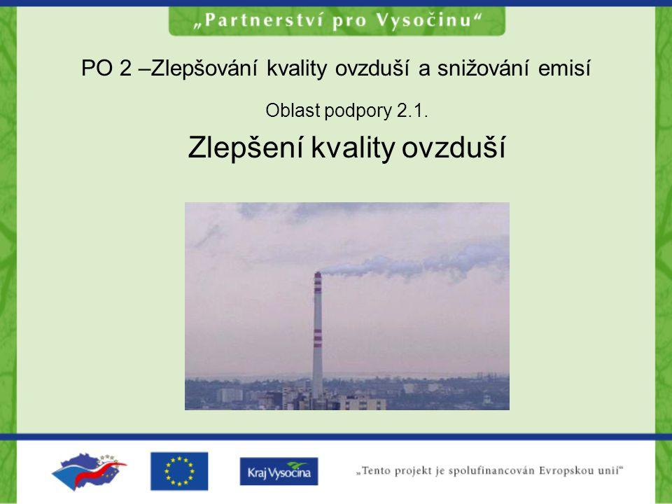 PO 2 –Zlepšování kvality ovzduší a snižování emisí Oblast podpory 2.1. Zlepšení kvality ovzduší