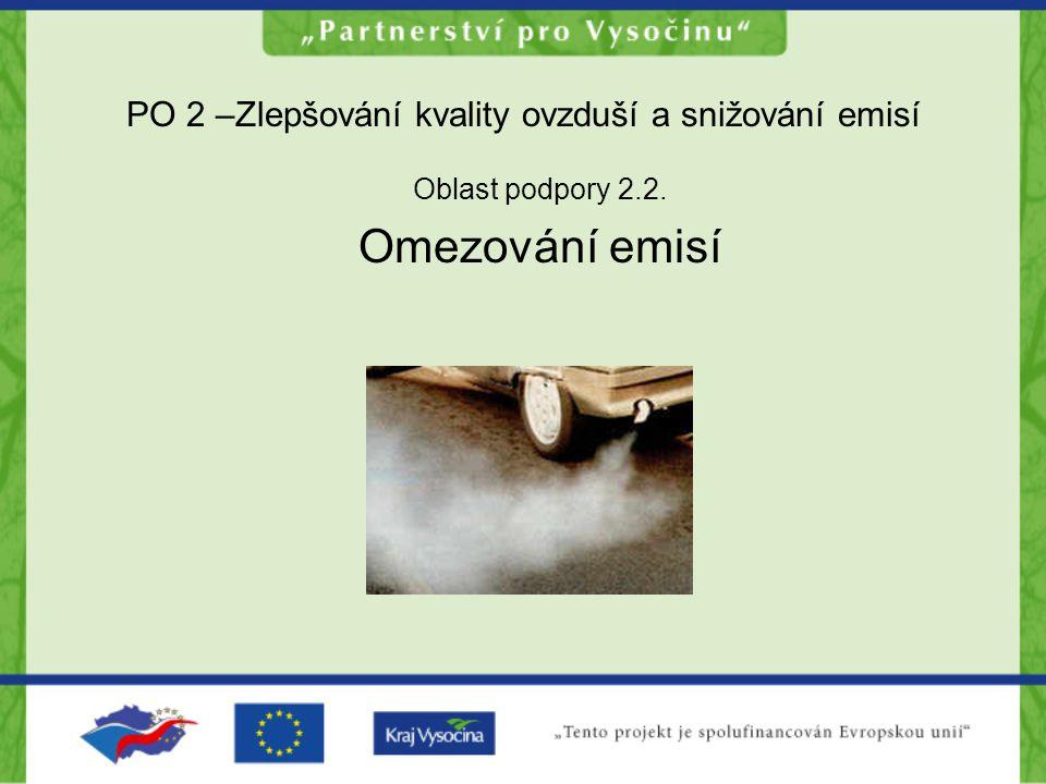 PO 2 –Zlepšování kvality ovzduší a snižování emisí Oblast podpory 2.2. Omezování emisí