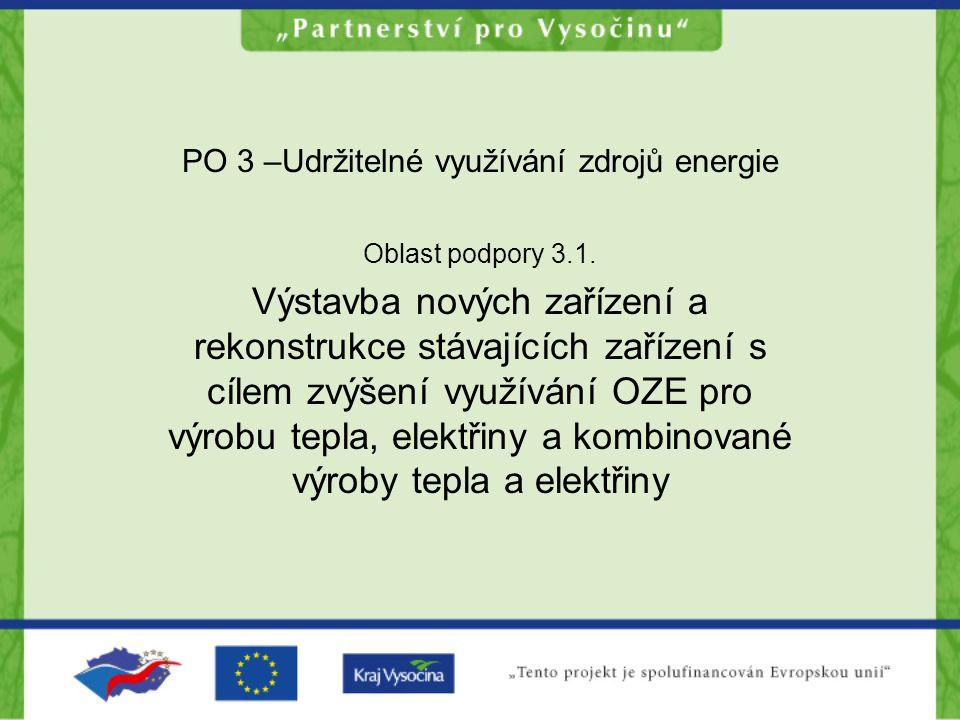 PO 3 –Udržitelné využívání zdrojů energie Oblast podpory 3.1. Výstavba nových zařízení a rekonstrukce stávajících zařízení s cílem zvýšení využívání O