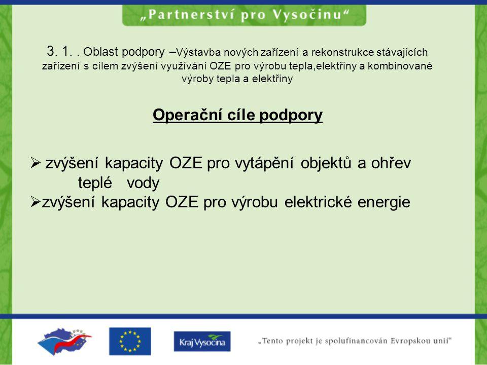 3. 1.. Oblast podpory – Výstavba nových zařízení a rekonstrukce stávajících zařízení s cílem zvýšení využívání OZE pro výrobu tepla,elektřiny a kombin