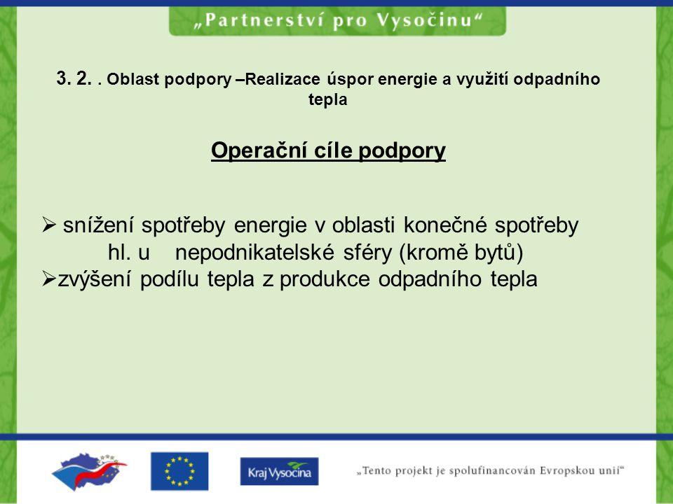 3. 2.. Oblast podpory –Realizace úspor energie a využití odpadního tepla Operační cíle podpory  snížení spotřeby energie v oblasti konečné spotřeby h