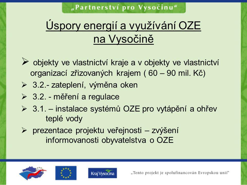 Úspory energií a využívání OZE na Vysočině  objekty ve vlastnictví kraje a v objekty ve vlastnictví organizací zřizovaných krajem ( 60 – 90 mil. Kč)