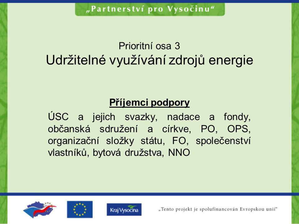 Prioritní osa 3 Udržitelné využívání zdrojů energie Příjemci podpory ÚSC a jejich svazky, nadace a fondy, občanská sdružení a církve, PO, OPS, organiz