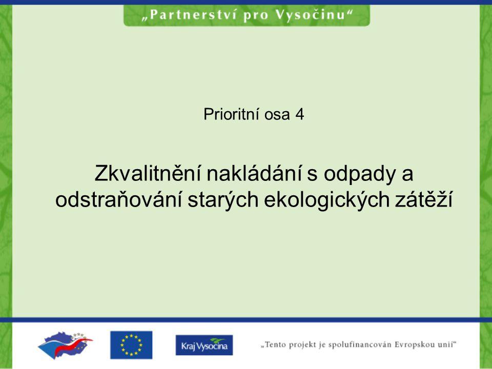 Prioritní osa 4 Zkvalitnění nakládání s odpady a odstraňování starých ekologických zátěží