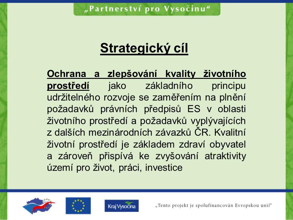 Strategický cíl Ochrana a zlepšování kvality životního prostředí jako základního principu udržitelného rozvoje se zaměřením na plnění požadavků právní