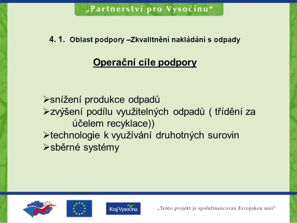 4. 1. Oblast podpory –Zkvalitnění nakládání s odpady Operační cíle podpory  snížení produkce odpadů  zvýšení podílu využitelných odpadů ( třídění za