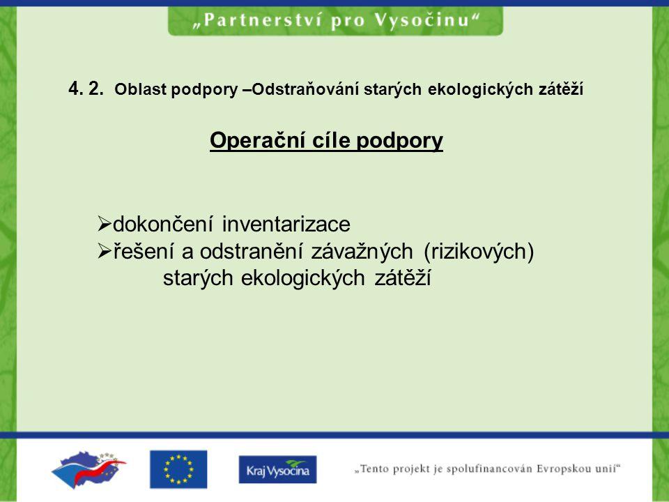 4. 2. Oblast podpory –Odstraňování starých ekologických zátěží Operační cíle podpory  dokončení inventarizace  řešení a odstranění závažných (riziko