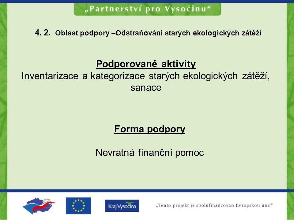4. 2. Oblast podpory –Odstraňování starých ekologických zátěží Podporované aktivity Inventarizace a kategorizace starých ekologických zátěží, sanace F