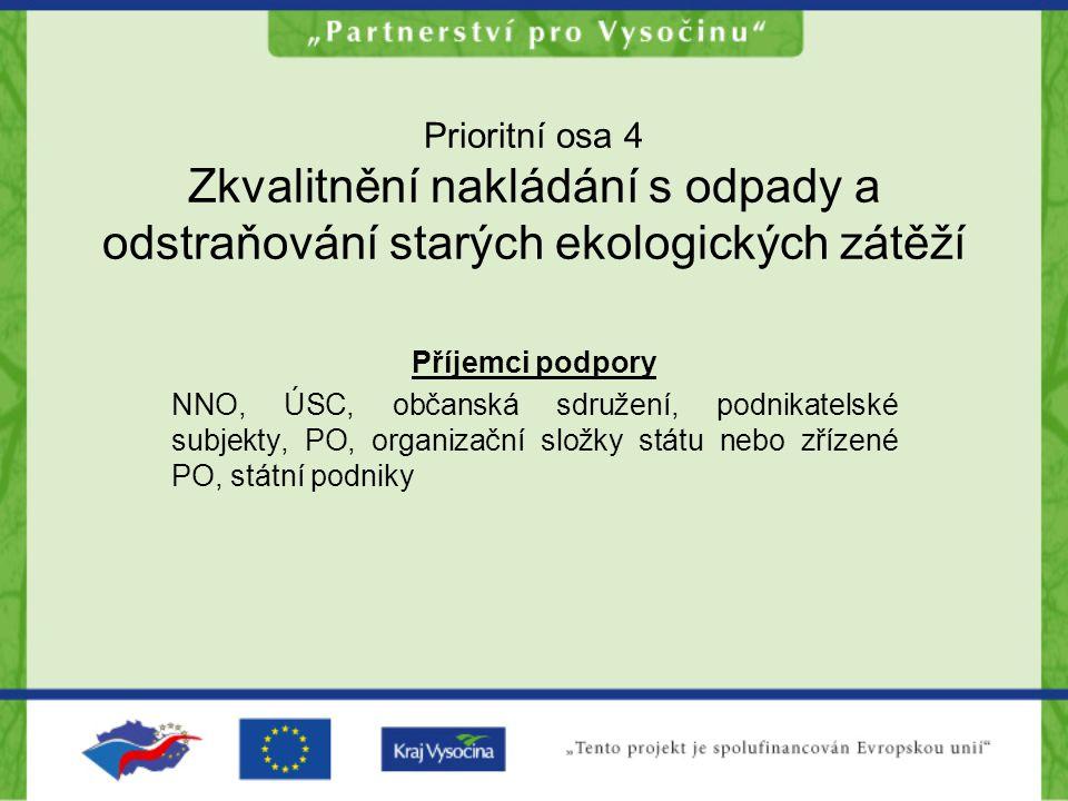 Prioritní osa 4 Zkvalitnění nakládání s odpady a odstraňování starých ekologických zátěží Příjemci podpory NNO, ÚSC, občanská sdružení, podnikatelské