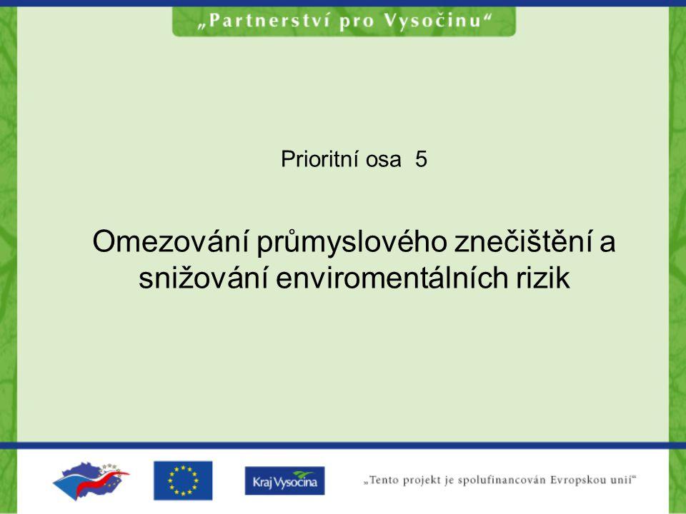 Prioritní osa 5 Omezování průmyslového znečištění a snižování enviromentálních rizik