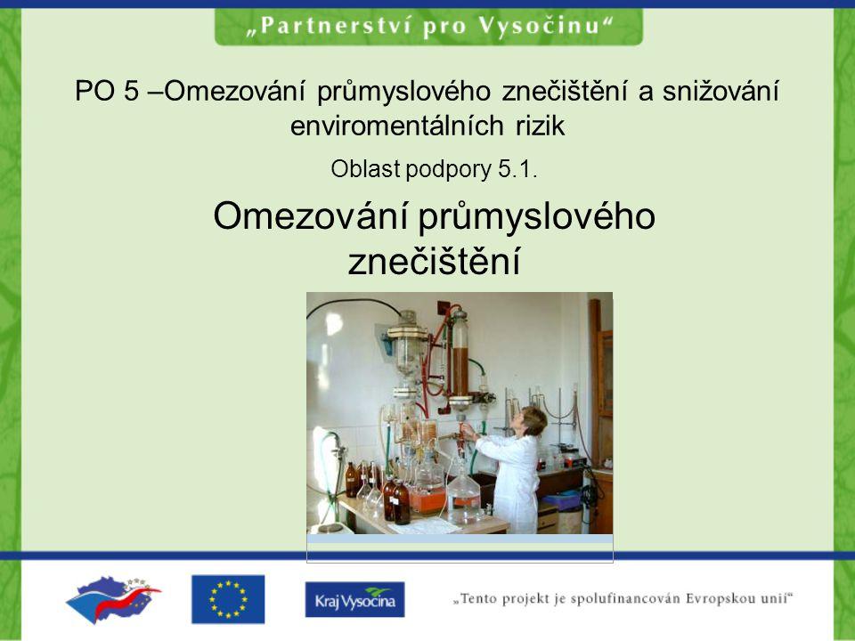 PO 5 –Omezování průmyslového znečištění a snižování enviromentálních rizik Oblast podpory 5.1. Omezování průmyslového znečištění