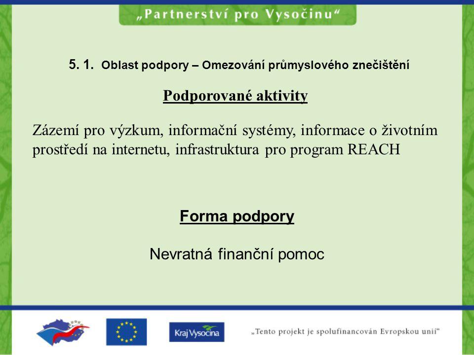 5. 1. Oblast podpory – Omezování průmyslového znečištění Podporované aktivity Zázemí pro výzkum, informační systémy, informace o životním prostředí na