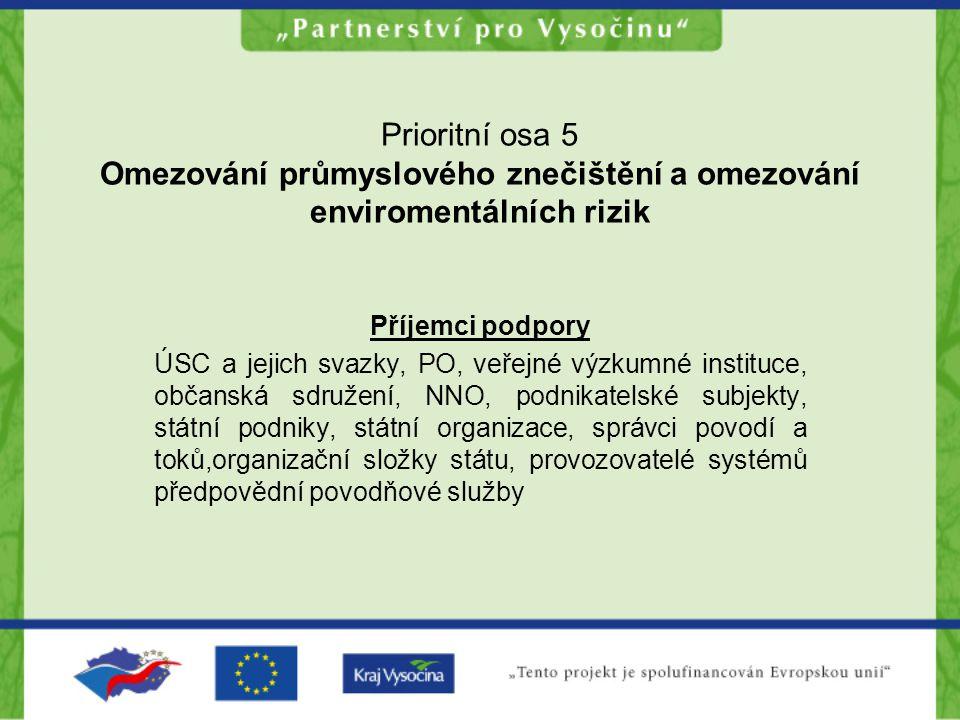 Prioritní osa 5 Omezování průmyslového znečištění a omezování enviromentálních rizik Příjemci podpory ÚSC a jejich svazky, PO, veřejné výzkumné instit