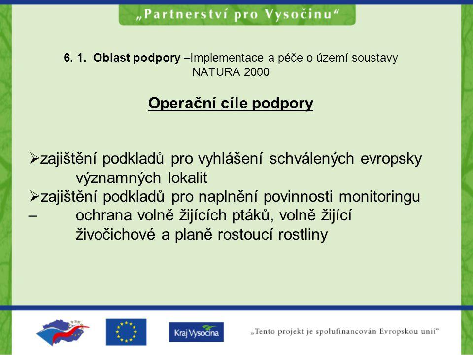 6. 1. Oblast podpory –Implementace a péče o území soustavy NATURA 2000 Operační cíle podpory  zajištění podkladů pro vyhlášení schválených evropsky v