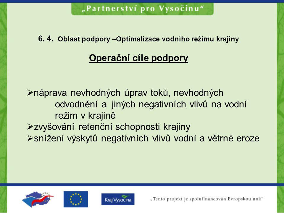 6. 4. Oblast podpory –Optimalizace vodního režimu krajiny Operační cíle podpory  náprava nevhodných úprav toků, nevhodných odvodnění a jiných negativ
