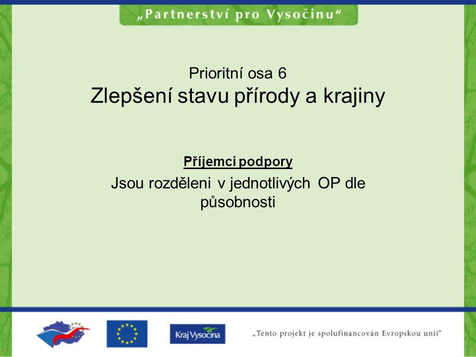Prioritní osa 6 Zlepšení stavu přírody a krajiny Příjemci podpory Jsou rozděleni v jednotlivých OP dle působnosti