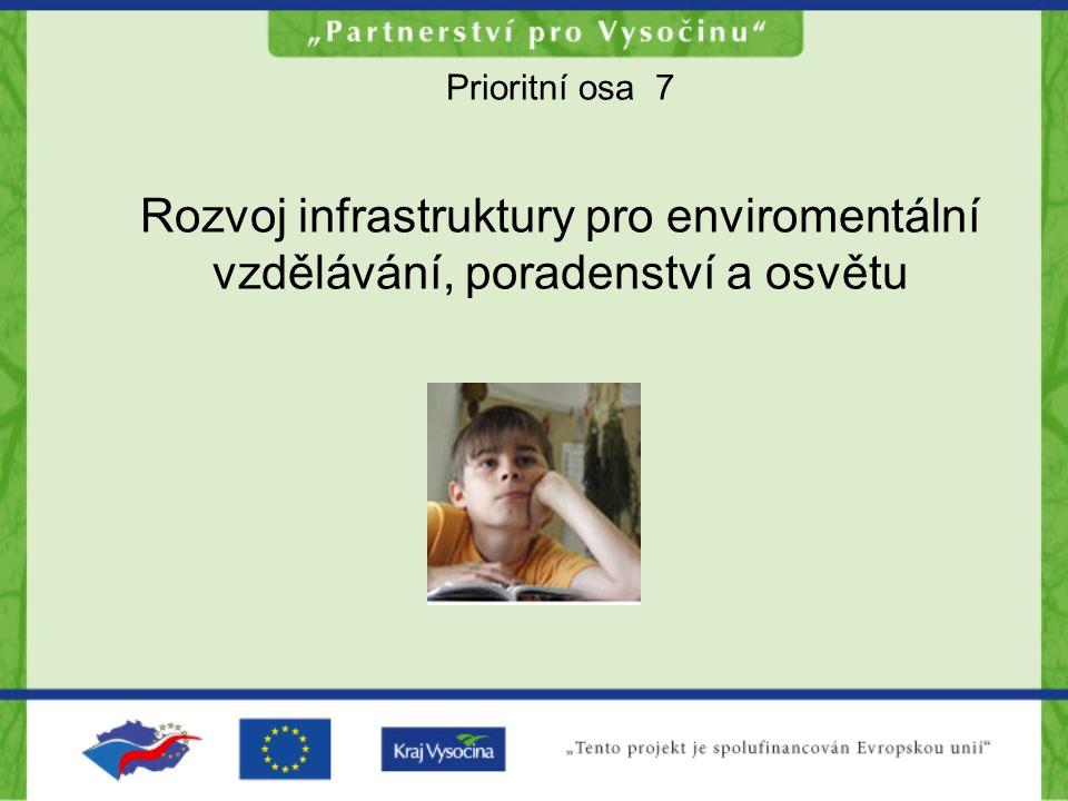 Prioritní osa 7 Rozvoj infrastruktury pro enviromentální vzdělávání, poradenství a osvětu