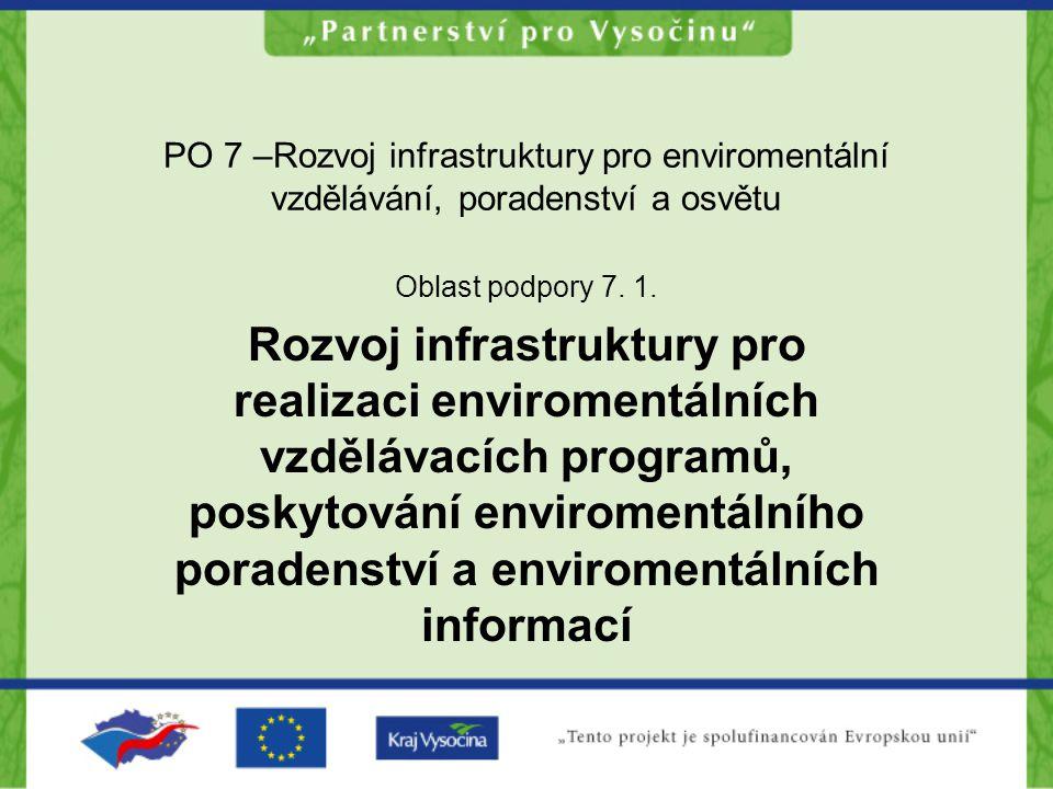 PO 7 –Rozvoj infrastruktury pro enviromentální vzdělávání, poradenství a osvětu Oblast podpory 7. 1. Rozvoj infrastruktury pro realizaci enviromentáln