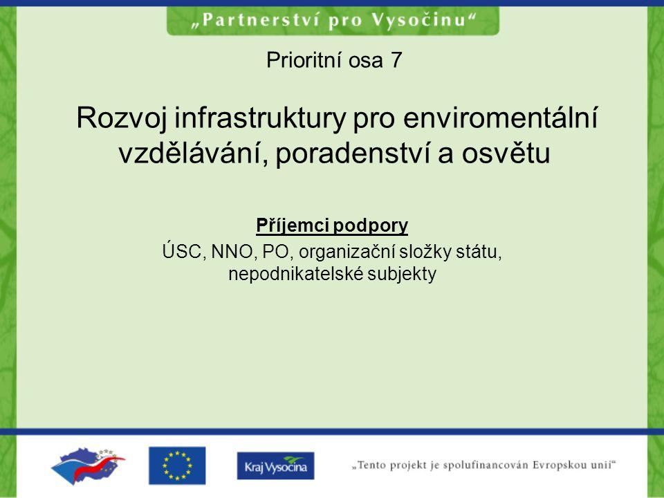 Prioritní osa 7 Rozvoj infrastruktury pro enviromentální vzdělávání, poradenství a osvětu Příjemci podpory ÚSC, NNO, PO, organizační složky státu, nep
