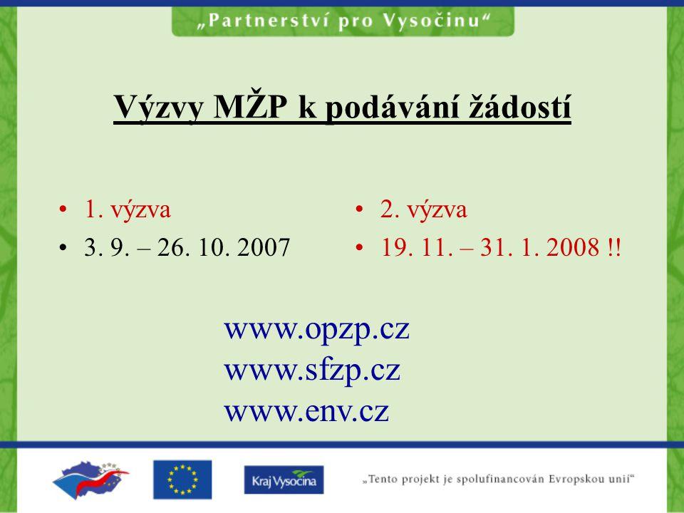 Výzvy MŽP k podávání žádostí 1. výzva 3. 9. – 26. 10. 2007 2. výzva 19. 11. – 31. 1. 2008 !! www.opzp.cz www.sfzp.cz www.env.cz