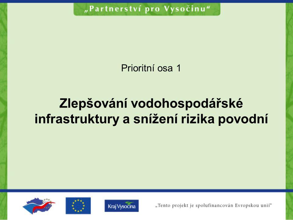 PO 1 -Zlepšování vodohospodářské infrastruktury a snížení rizika povodní Oblast podpory 1.1.