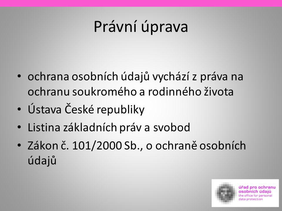 Právní úprava ochrana osobních údajů vychází z práva na ochranu soukromého a rodinného života Ústava České republiky Listina základních práv a svobod