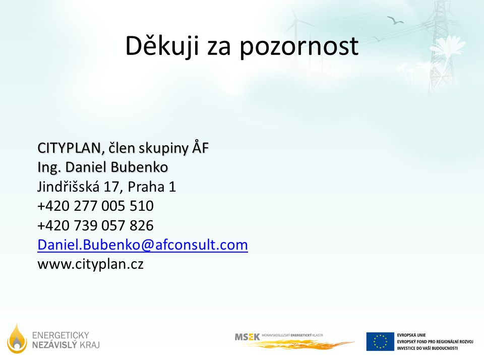 Děkuji za pozornost CITYPLAN, člen skupiny ÅF Ing.