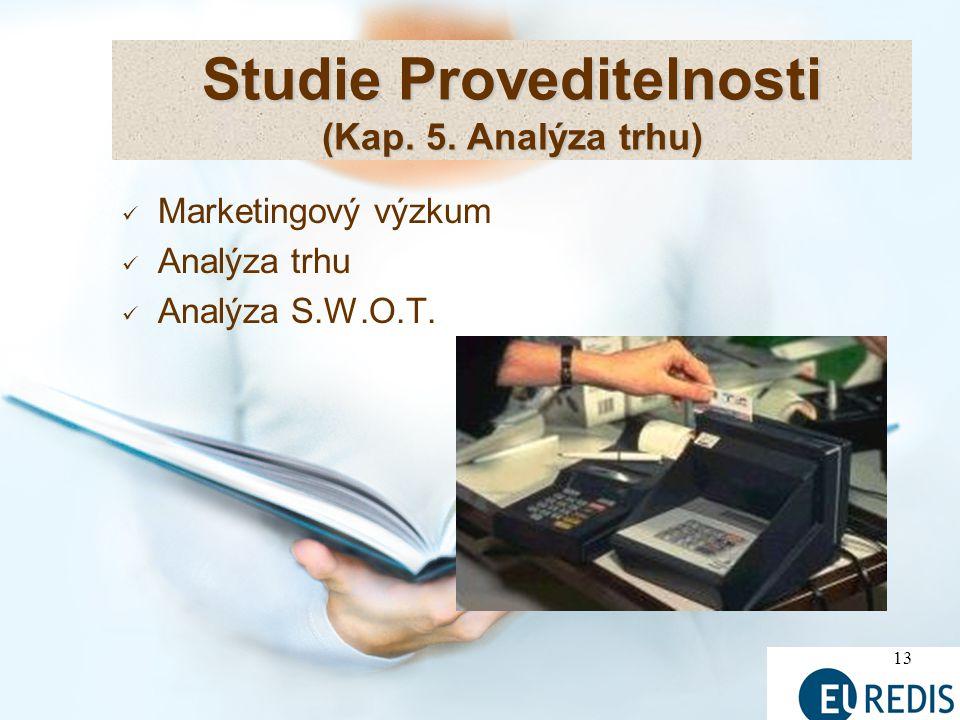 13 Studie Proveditelnosti (Kap. 5. Analýza trhu) Marketingový výzkum Analýza trhu Analýza S.W.O.T.
