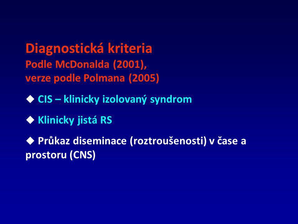 Diagnostická kriteria Podle McDonalda (2001), verze podle Polmana (2005)  CIS – klinicky izolovaný syndrom  Klinicky jistá RS  Průkaz diseminace (roztroušenosti) v čase a prostoru (CNS)