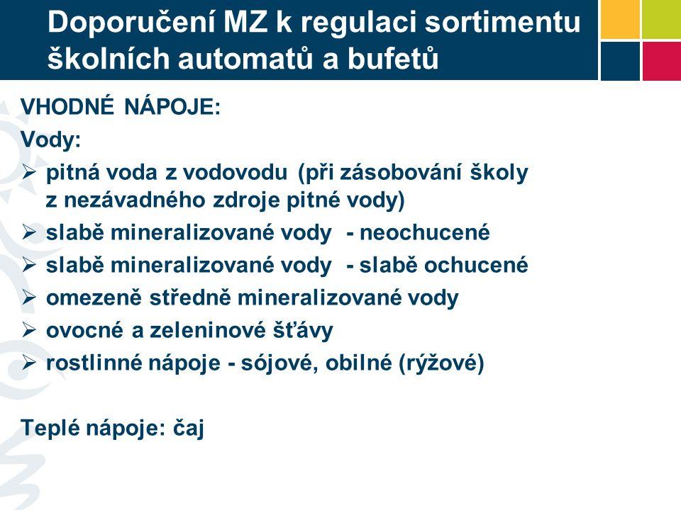 Doporučení MZ k regulaci sortimentu školních automatů a bufetů VHODNÉ NÁPOJE: Vody:  pitná voda z vodovodu (při zásobování školy z nezávadného zdroje