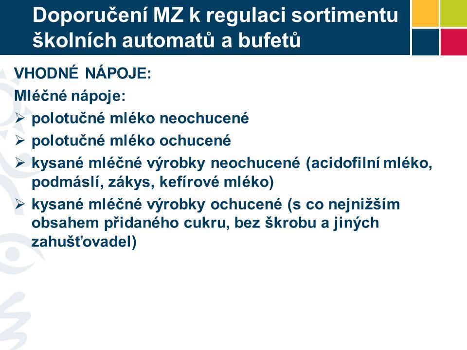 Doporučení MZ k regulaci sortimentu školních automatů a bufetů VHODNÉ NÁPOJE: Mléčné nápoje:  polotučné mléko neochucené  polotučné mléko ochucené 