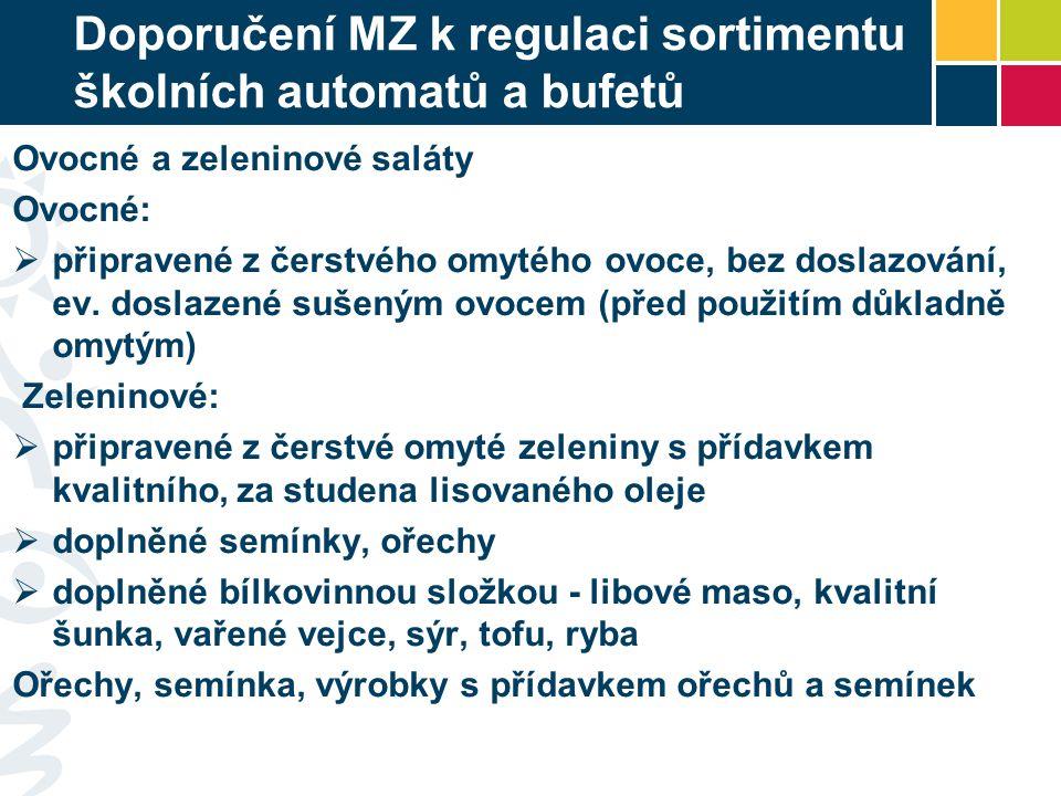 Doporučení MZ k regulaci sortimentu školních automatů a bufetů Ovocné a zeleninové saláty Ovocné:  připravené z čerstvého omytého ovoce, bez doslazov