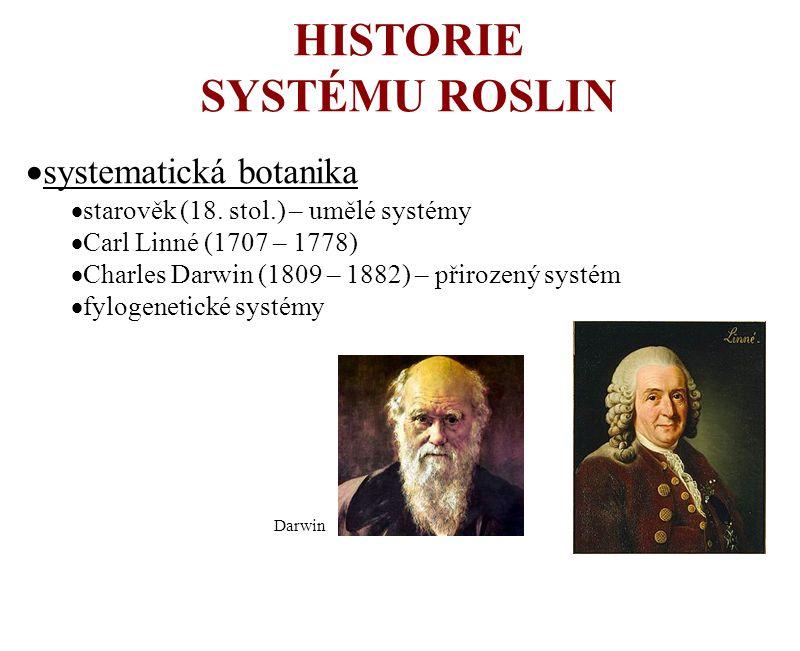 HISTORIE SYSTÉMU ROSLIN  systematická botanika  starověk (18. stol.) – umělé systémy  Carl Linné (1707 – 1778)  Charles Darwin (1809 – 1882) – při