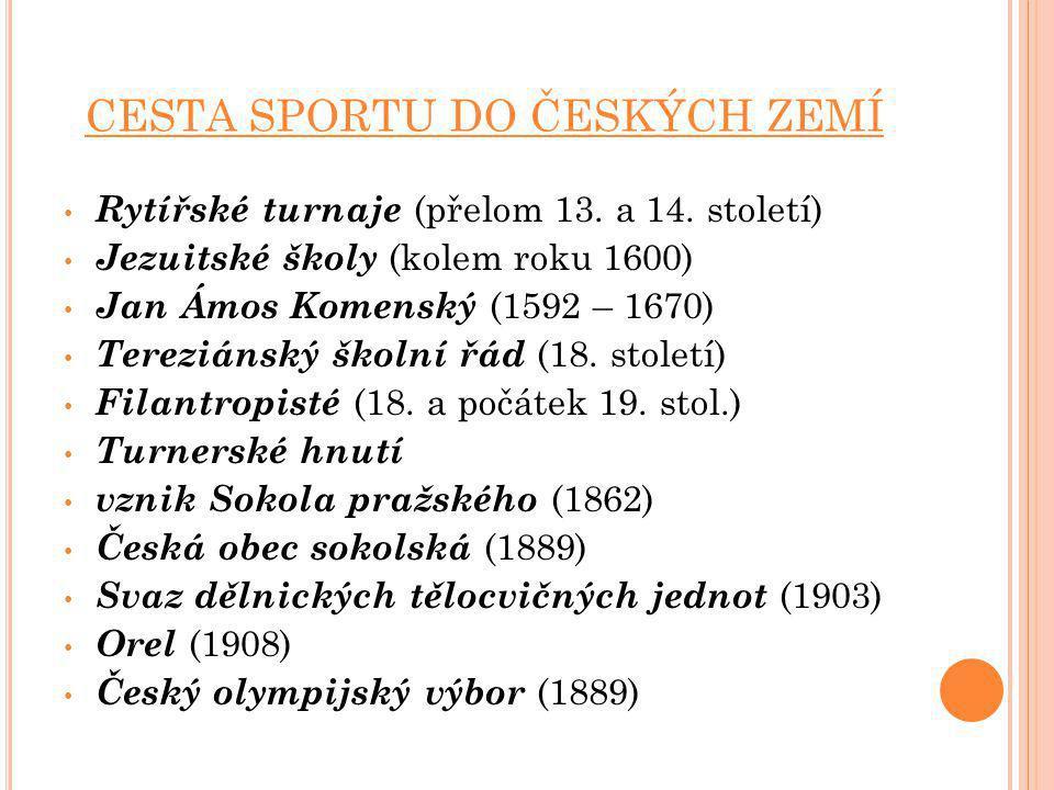 CESTA SPORTU DO ČESKÝCH ZEMÍ Rytířské turnaje (přelom 13. a 14. století) Jezuitské školy (kolem roku 1600) Jan Ámos Komenský (1592 – 1670) Tereziánský