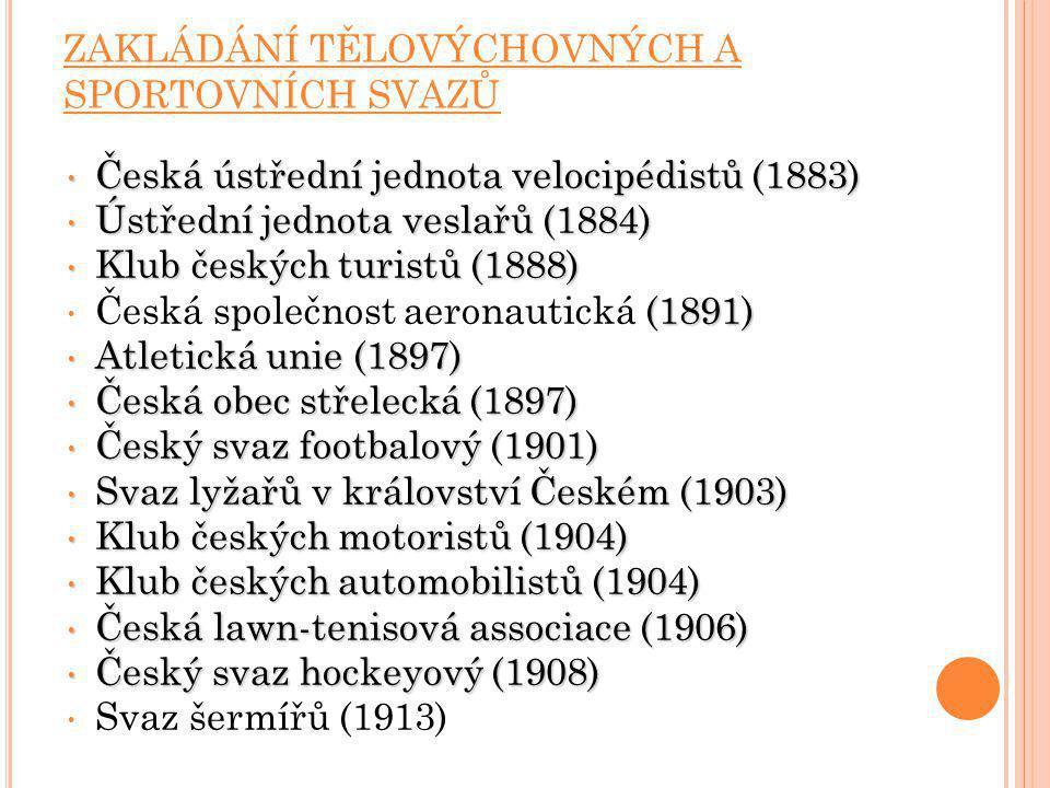 ZAKLÁDÁNÍ TĚLOVÝCHOVNÝCH A SPORTOVNÍCH SVAZŮ Česká ústřední jednota velocipédistů (1883) Česká ústřední jednota velocipédistů (1883) Ústřední jednota