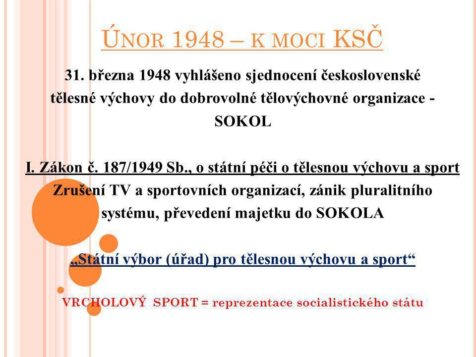 Ú NOR 1948 – K MOCI KSČ 31. března 1948 vyhlášeno sjednocení československé tělesné výchovy do dobrovolné tělovýchovné organizace - SOKOL I. Zákon č.
