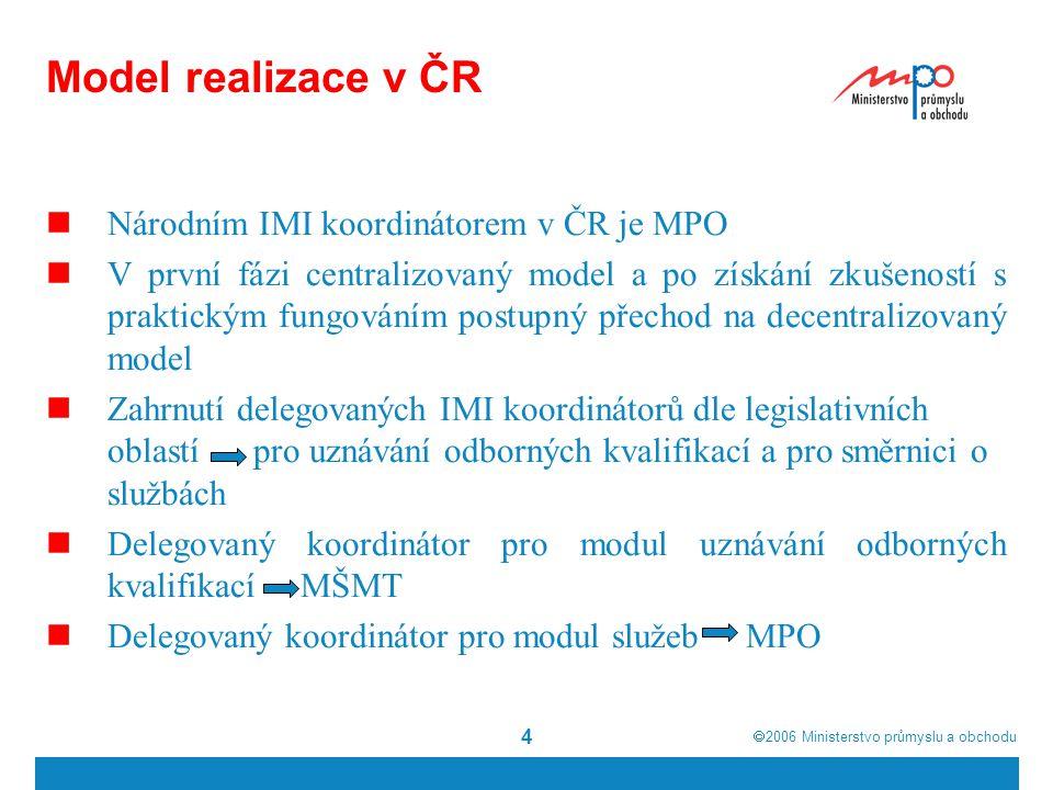  2006  Ministerstvo průmyslu a obchodu 5 Model realizace v ČR národní koordinátor MPO ČR delegovaný IMI koordinátor modul pro uznávání odborných kvalifikací MŠMT delegovaný IMI koordinátor modul ke směrnici o službách MPO kompetentní úřad