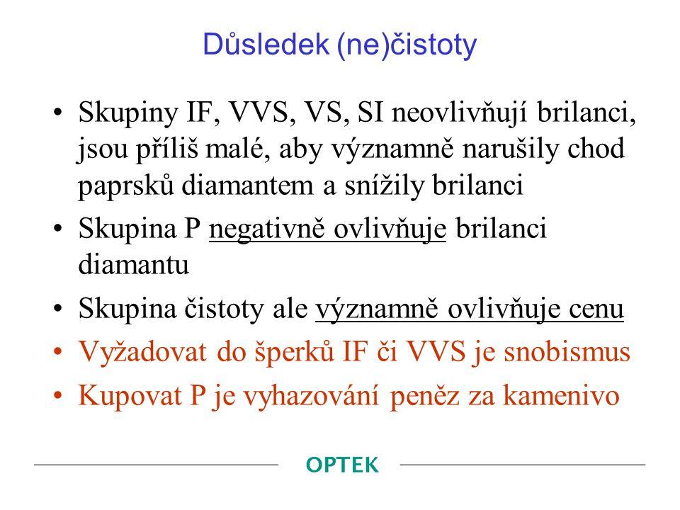Důsledek (ne)čistoty Skupiny IF, VVS, VS, SI neovlivňují brilanci, jsou příliš malé, aby významně narušily chod paprsků diamantem a snížily brilanci S