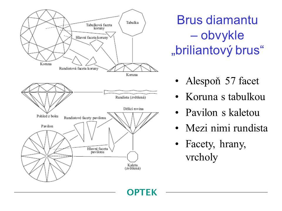 "Brus diamantu – obvykle ""briliantový brus"" Alespoň 57 facet Koruna s tabulkou Pavilon s kaletou Mezi nimi rundista Facety, hrany, vrcholy"