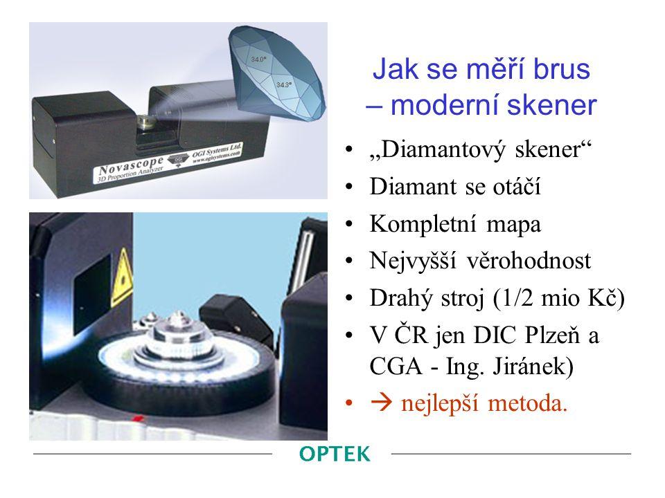 """Jak se měří brus – moderní skener """"Diamantový skener"""" Diamant se otáčí Kompletní mapa Nejvyšší věrohodnost Drahý stroj (1/2 mio Kč) V ČR jen DIC Plzeň"""