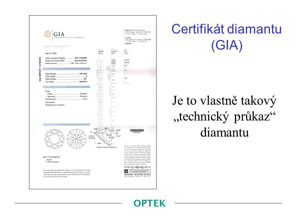 """Certifikát diamantu (GIA) Je to vlastně takový """"technický průkaz"""" diamantu"""