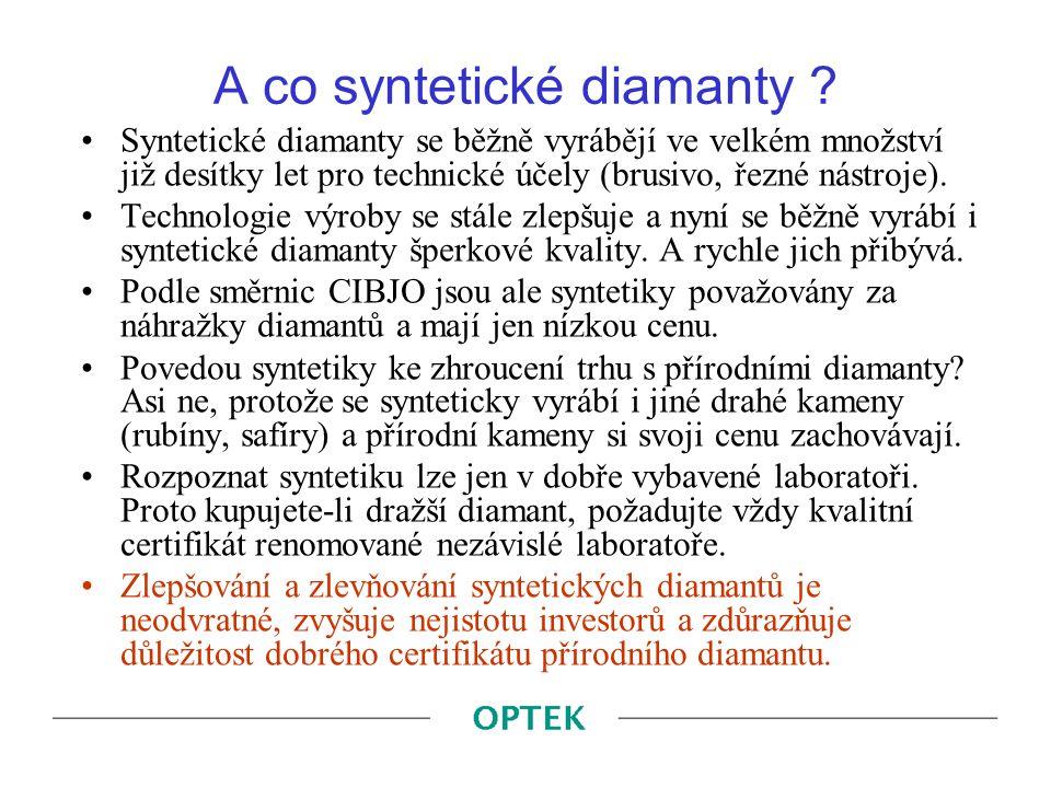 A co syntetické diamanty ? Syntetické diamanty se běžně vyrábějí ve velkém množství již desítky let pro technické účely (brusivo, řezné nástroje). Tec