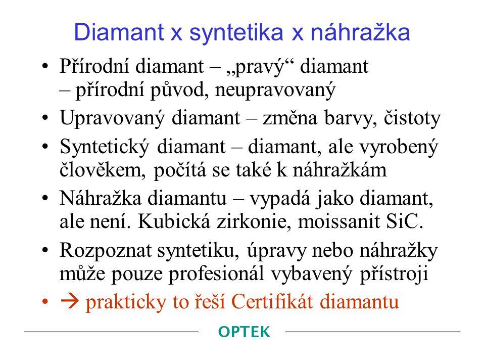"""Diamant x syntetika x náhražka Přírodní diamant – """"pravý"""" diamant – přírodní původ, neupravovaný Upravovaný diamant – změna barvy, čistoty Syntetický"""