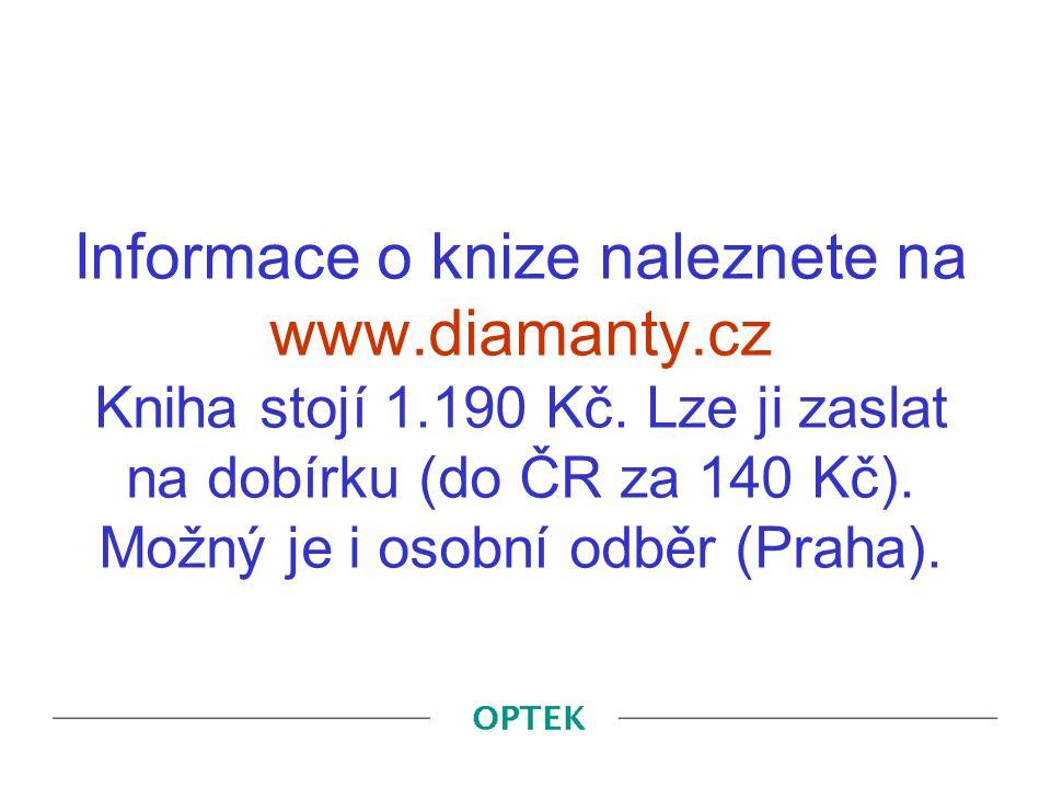 Informace o knize naleznete na www.diamanty.cz Kniha stojí 1.190 Kč. Lze ji zaslat na dobírku (do ČR za 140 Kč). Možný je i osobní odběr (Praha).