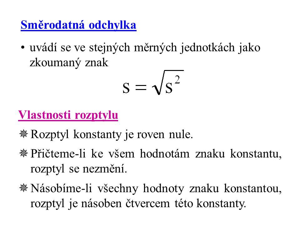 Směrodatná odchylka uvádí se ve stejných měrných jednotkách jako zkoumaný znak Vlastnosti rozptylu  Rozptyl konstanty je roven nule.