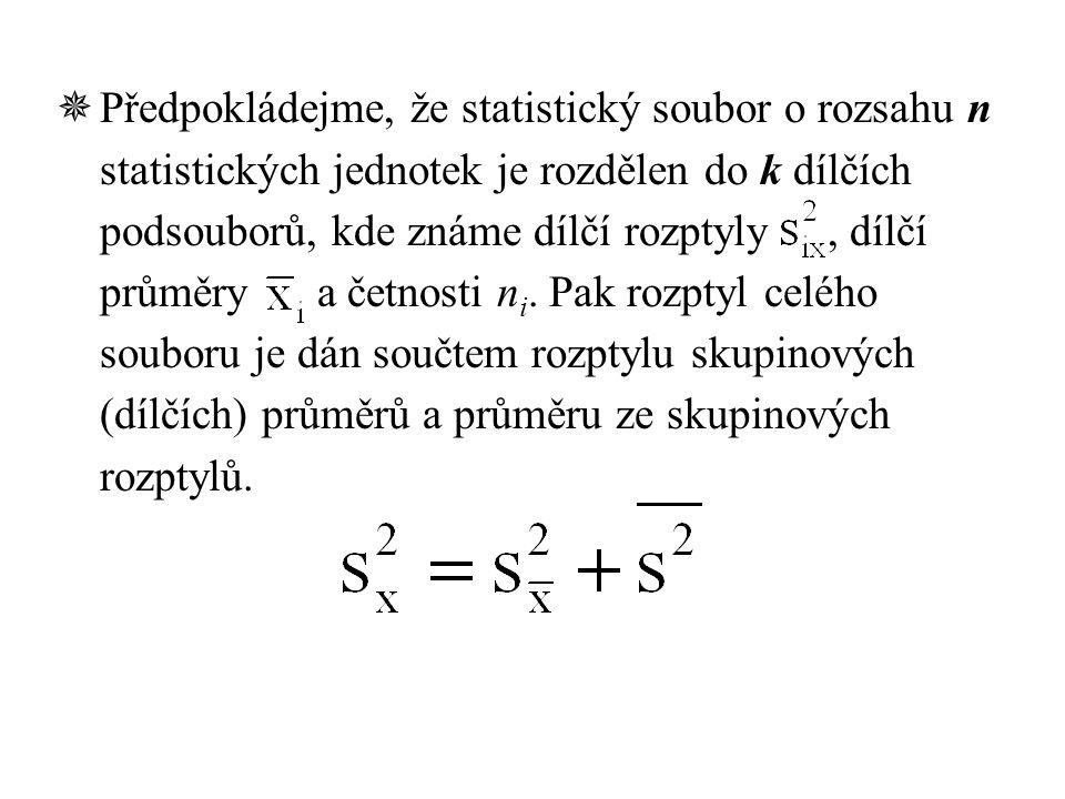  Předpokládejme, že statistický soubor o rozsahu n statistických jednotek je rozdělen do k dílčích podsouborů, kde známe dílčí rozptyly, dílčí průměry a četnosti n i.