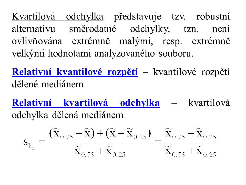 Kvartilová odchylka představuje tzv.robustní alternativu směrodatné odchylky, tzn.