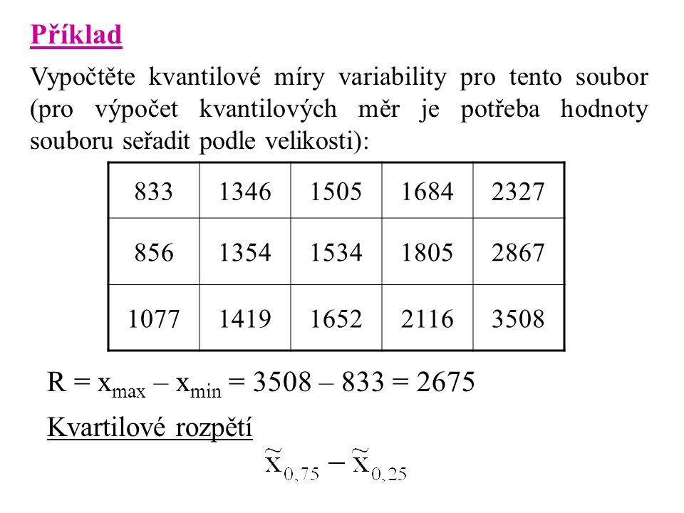 Příklad Vypočtěte kvantilové míry variability pro tento soubor (pro výpočet kvantilových měr je potřeba hodnoty souboru seřadit podle velikosti): 8331346150516842327 8561354153418052867 10771419165221163508 R = x max – x min = 3508 – 833 = 2675 Kvartilové rozpětí